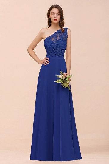 New Arrival Dusty Rose One Shoulder Lace Long Bridesmaid Dress_26
