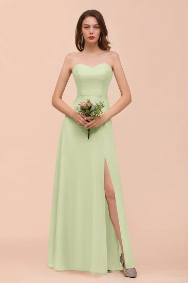 BMbridal Affordable Strapless Front Slit Long Dusty Sage Bridesmaid Dress_35