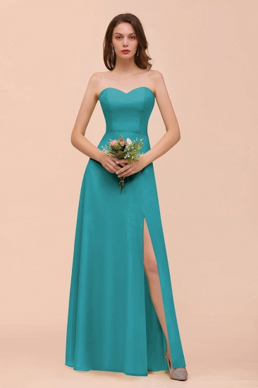 BMbridal Affordable Strapless Front Slit Long Dusty Sage Bridesmaid Dress_32
