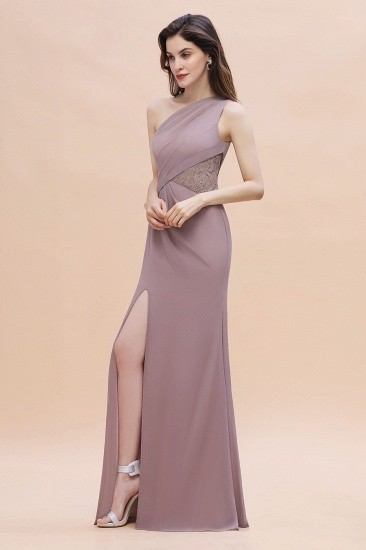 BMbridal Chic One-Shoulder Dusk Chiffon Lace Ruffle Bridesmaid Dress with Front Slit On Sale_4