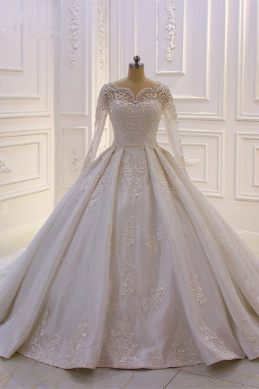 Luxury Satin Tulle Ruffle Wedding Dress Long Sleeves Appliques Beadings Bridal Gowns On sale