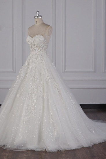 BMbridal Elegant Strapless Tulle Lace Wedding Dress Sweetheart Appliques Sequined Bridal Gowns On Sale_4