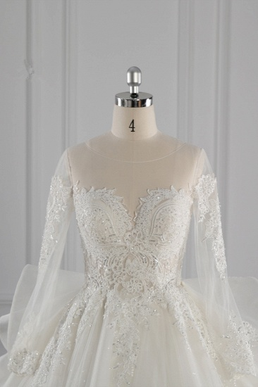 Gorgeous Jewel Lace Tulle Wedding Dress Long Sleeves Beadings Bridal Gowns On Sale_5
