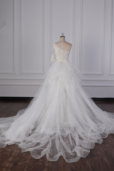 Glamorous Sheath Lace Tulle Wedding Dress One-Shoulder 3/4 Sleeve Appliques Bridal Gowns Online_3