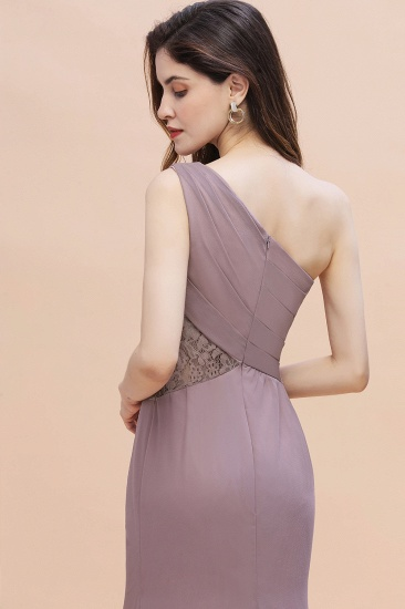 BMbridal Chic One-Shoulder Dusk Chiffon Lace Ruffle Bridesmaid Dress with Front Slit On Sale_9