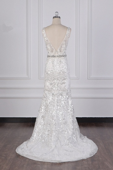 BMbridal Sparkly Sequins Straps V-Neck Wedding Dress Beadings Sleeveless Bridal Gowns with Sash On Sale_3