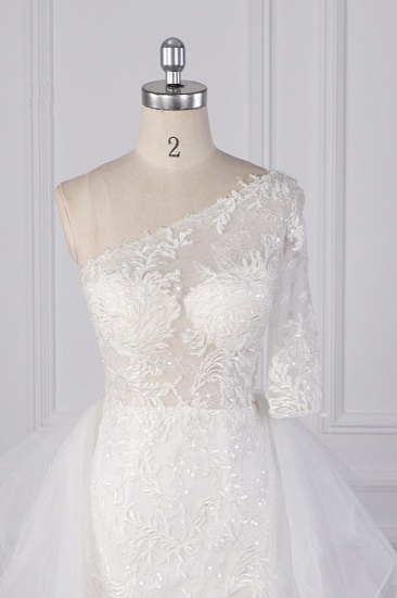 Glamorous Sheath Lace Tulle Wedding Dress One-Shoulder 3/4 Sleeve Appliques Bridal Gowns Online_4