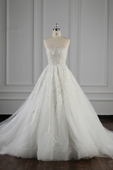 Elegant Strapless White Lace Wedding Dress Sleeveless Appliques Ruffle Bridal Gowns Online_1