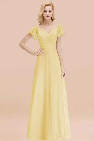 Elegent Short-Sleeve Long Bridesmaid Dress Online Yellow Chiffon Wedding Party Dress_18