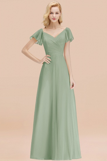 Elegent Short-Sleeve Long Bridesmaid Dress Online Yellow Chiffon Wedding Party Dress_41