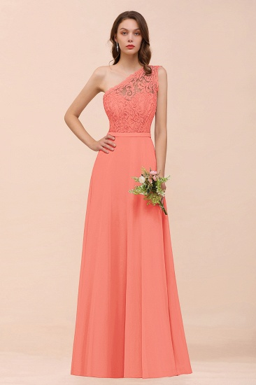 New Arrival Dusty Rose One Shoulder Lace Long Bridesmaid Dress_45