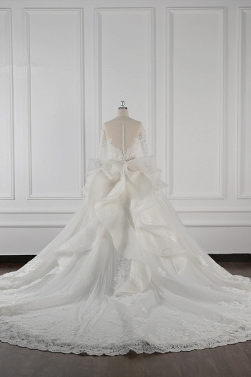 Gorgeous Jewel Lace Tulle Wedding Dress Long Sleeves Beadings Bridal Gowns On Sale_3