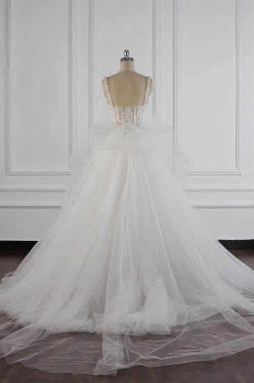Elegant Straps Tulle Lace Wedding Dress Sweetheart Appliques Beadings Bridal Gowns with Ruffles On Sale_3