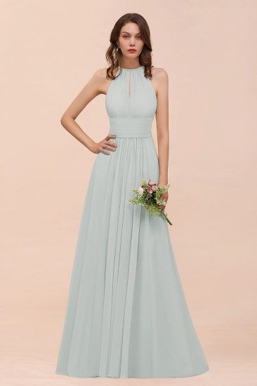 Elegant Chiffon Jewel Ruffle Champagne Affordable Bridesmaid Dress Online_38