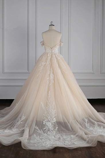 BMbridal Gorgeous Ball Gown Tulle Lace Wedding Dress Champagne Appliques Off-the-Shoulder Bridal Gowns with Beadings On Sale_3