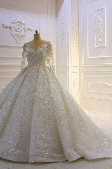 BMbridal Luxury Ball Gown Lace Appliques Beading Wedding Dress Long Sleeves Ruffles Bridal Gowns On Sale_4