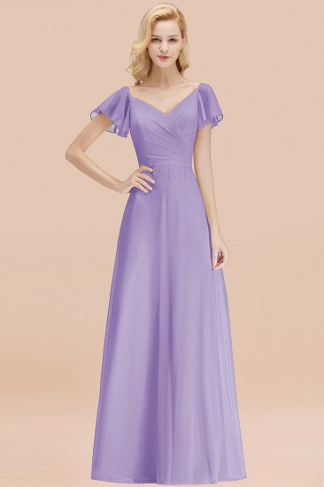 Elegent Short-Sleeve Long Bridesmaid Dress Online Yellow Chiffon Wedding Party Dress_21