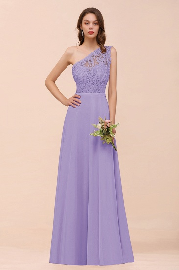 New Arrival Dusty Rose One Shoulder Lace Long Bridesmaid Dress_21