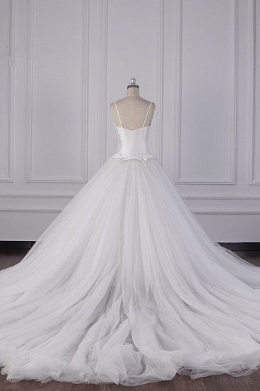 BMbridal Simple Spaghetti Straps Satin Wedding Dress Tulle Ruffles Sleeveless Bridal Gowns Onlien_3