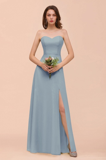 BMbridal Affordable Strapless Front Slit Long Dusty Sage Bridesmaid Dress_40