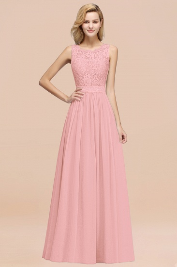 Elegant Chiffon Lace Scalloped Sleeveless Ruffle Bridesmaid Dresses_4