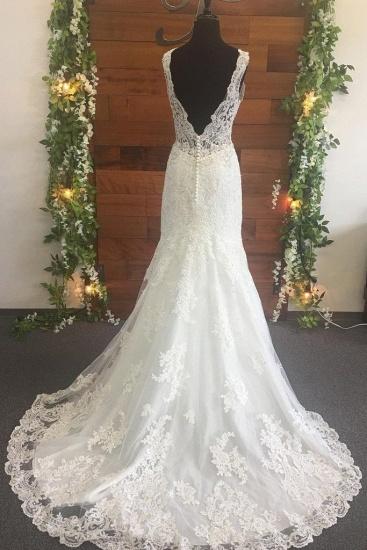 BMbridal Elegant Straps V-Neck Tulle Wedding Dress Mermaid Appliques Sleeveless Beadings Bridal Gowns Online_2