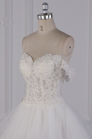 BMbridal Stylish Off-the-Shoulder Tulle Lace Wedding Dress Strapless Appliques Ruffles Beading Bridal Gowns On Sale_6