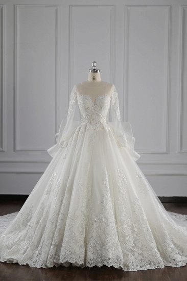 Gorgeous Jewel Lace Tulle Wedding Dress Long Sleeves Beadings Bridal Gowns On Sale