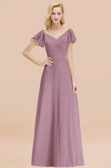 Elegent Short-Sleeve Long Bridesmaid Dress Online Yellow Chiffon Wedding Party Dress_43