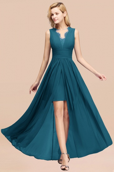 BMbridal Elegant Chiffon Lace Jewel Sleeveless Bridesmaid Dress with Ruffle_27