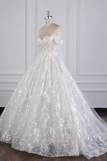 BMbridal Gorgeous Ball Gown Strapless Tulle Lace Wedding Dress Sleeveless Appliques Sequins Bridal Gowns_3