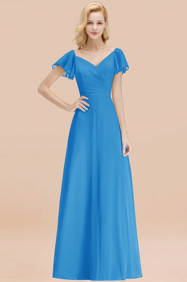 Elegent Short-Sleeve Long Bridesmaid Dress Online Yellow Chiffon Wedding Party Dress_25