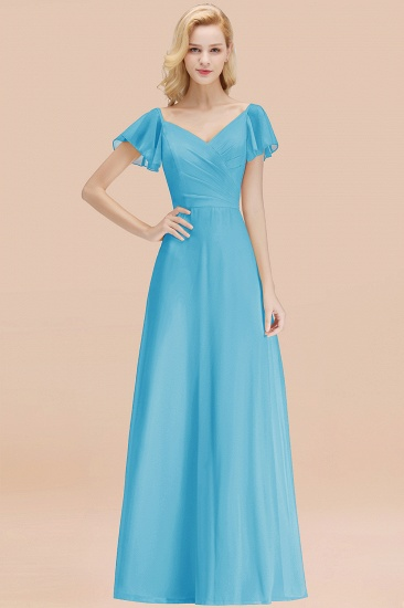 Elegent Short-Sleeve Long Bridesmaid Dress Online Yellow Chiffon Wedding Party Dress_24