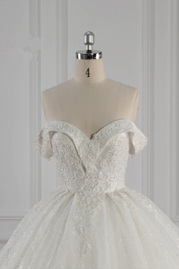 Luxury Ball Gown Off-the-Shoulder Tulle Lace Wedding Dress Appliques Sleeveless Bridal Gowns On Sale_5