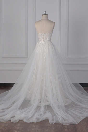 BMbridal Stylish Strapless Tulle Lace Wedding Dress Sweetheart Appliques Bridal Gowns with Overskirt On Sale_3