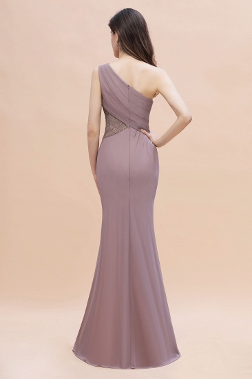 BMbridal Chic One-Shoulder Dusk Chiffon Lace Ruffle Bridesmaid Dress with Front Slit On Sale_3