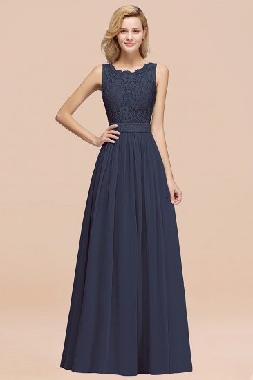 Elegant Chiffon Lace Scalloped Sleeveless Ruffle Bridesmaid Dresses_39