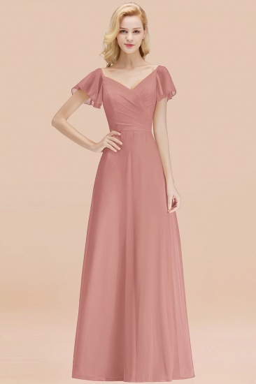 Elegent Short-Sleeve Long Bridesmaid Dress Online Yellow Chiffon Wedding Party Dress_50