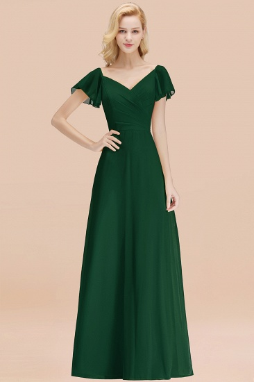 Elegent Short-Sleeve Long Bridesmaid Dress Online Yellow Chiffon Wedding Party Dress_31