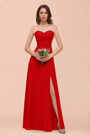 BMbridal Affordable Strapless Front Slit Long Dusty Sage Bridesmaid Dress_8