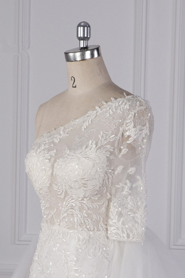 Glamorous Sheath Lace Tulle Wedding Dress One-Shoulder 3/4 Sleeve Appliques Bridal Gowns Online_5