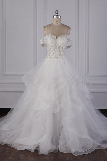Stylish Off-the-Shoulder Tulle Lace Wedding Dress Strapless Appliques Ruffles Beading Bridal Gowns On Sale