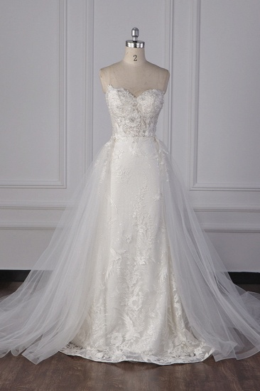 BMbridal Stylish Strapless Tulle Lace Wedding Dress Sweetheart Appliques Bridal Gowns with Overskirt On Sale_1