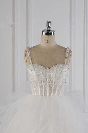 Elegant Straps Tulle Lace Wedding Dress Sweetheart Appliques Beadings Bridal Gowns with Ruffles On Sale_5
