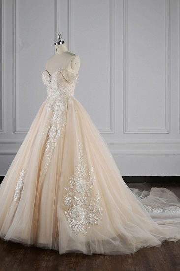 BMbridal Gorgeous Ball Gown Tulle Lace Wedding Dress Champagne Appliques Off-the-Shoulder Bridal Gowns with Beadings On Sale_4
