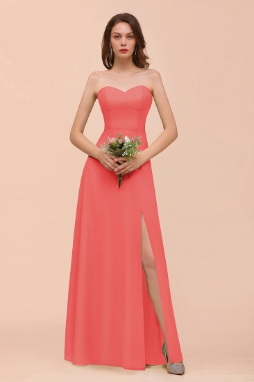 BMbridal Affordable Strapless Front Slit Long Dusty Sage Bridesmaid Dress_7
