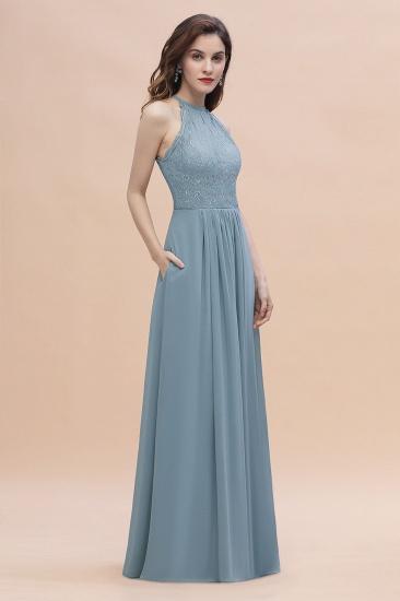 BMbridal Elegant Jewel Lace Appliques Dusty Blue Chiffon Bridesmaid Dress On Sale_4