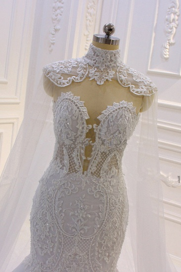 BMbridal Stylish V-Neck Tulle Lace Wedding Dress Mermaid Appliques Beadings Bridal Gowns with Wraps_6
