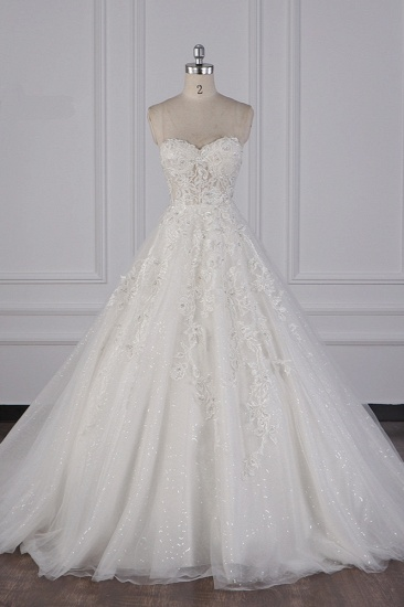 BMbridal Elegant Strapless Tulle Lace Wedding Dress Sweetheart Appliques Sequined Bridal Gowns On Sale_1