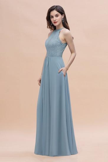 BMbridal Elegant Jewel Lace Appliques Dusty Blue Chiffon Bridesmaid Dress On Sale_7